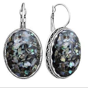 Beach silver & shell drop earrings NEW